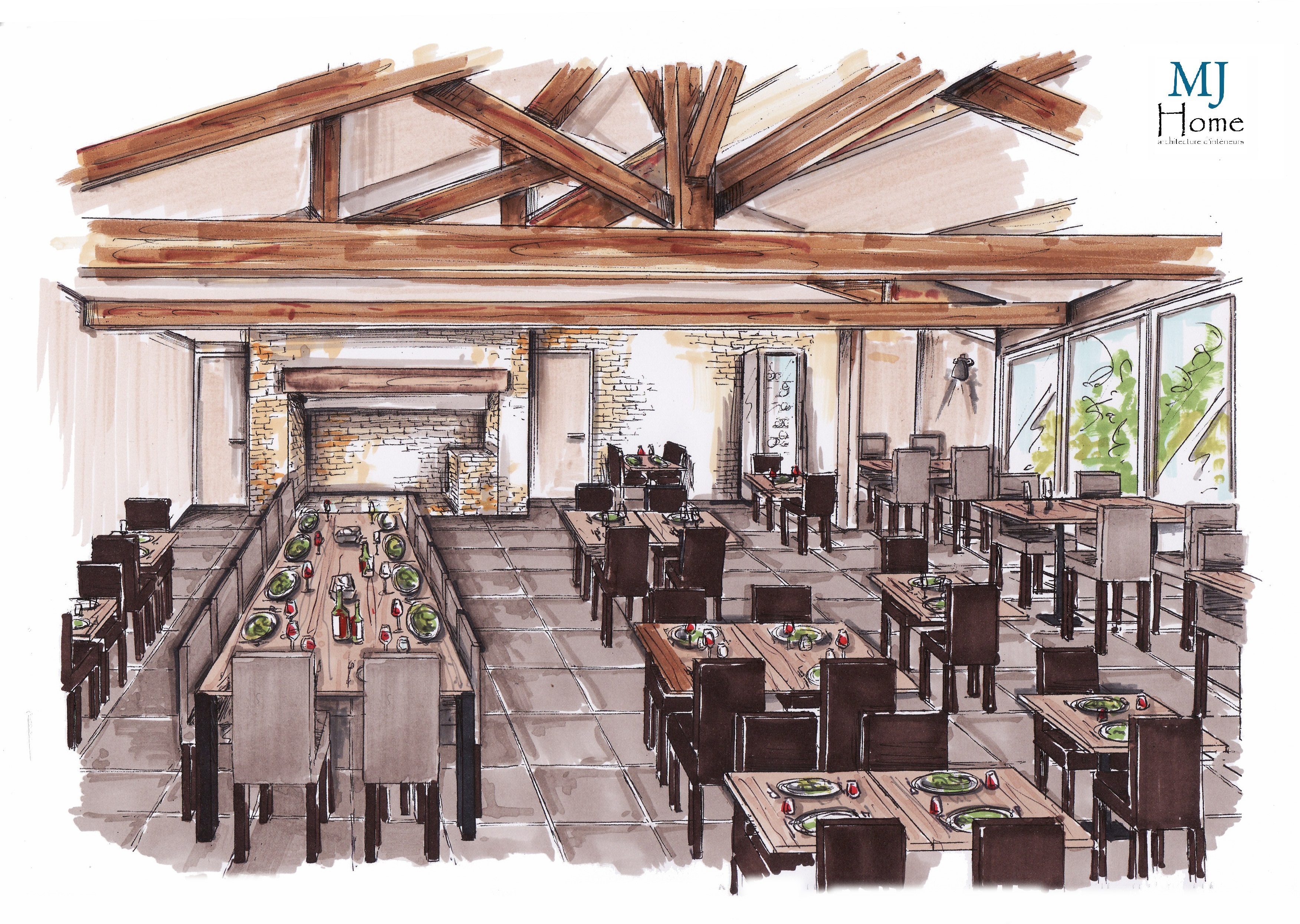 Inauguration du restaurant l 39 incontournable mj home for Croquis salle de bain