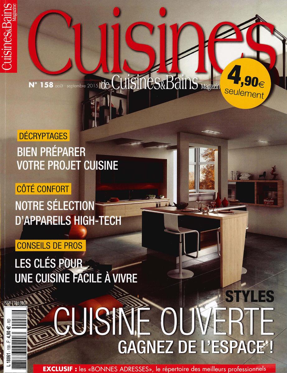Couverture du magazine Cuisines & Bains de août et septembre 2015 dans lequel parait un article sur MJ Home