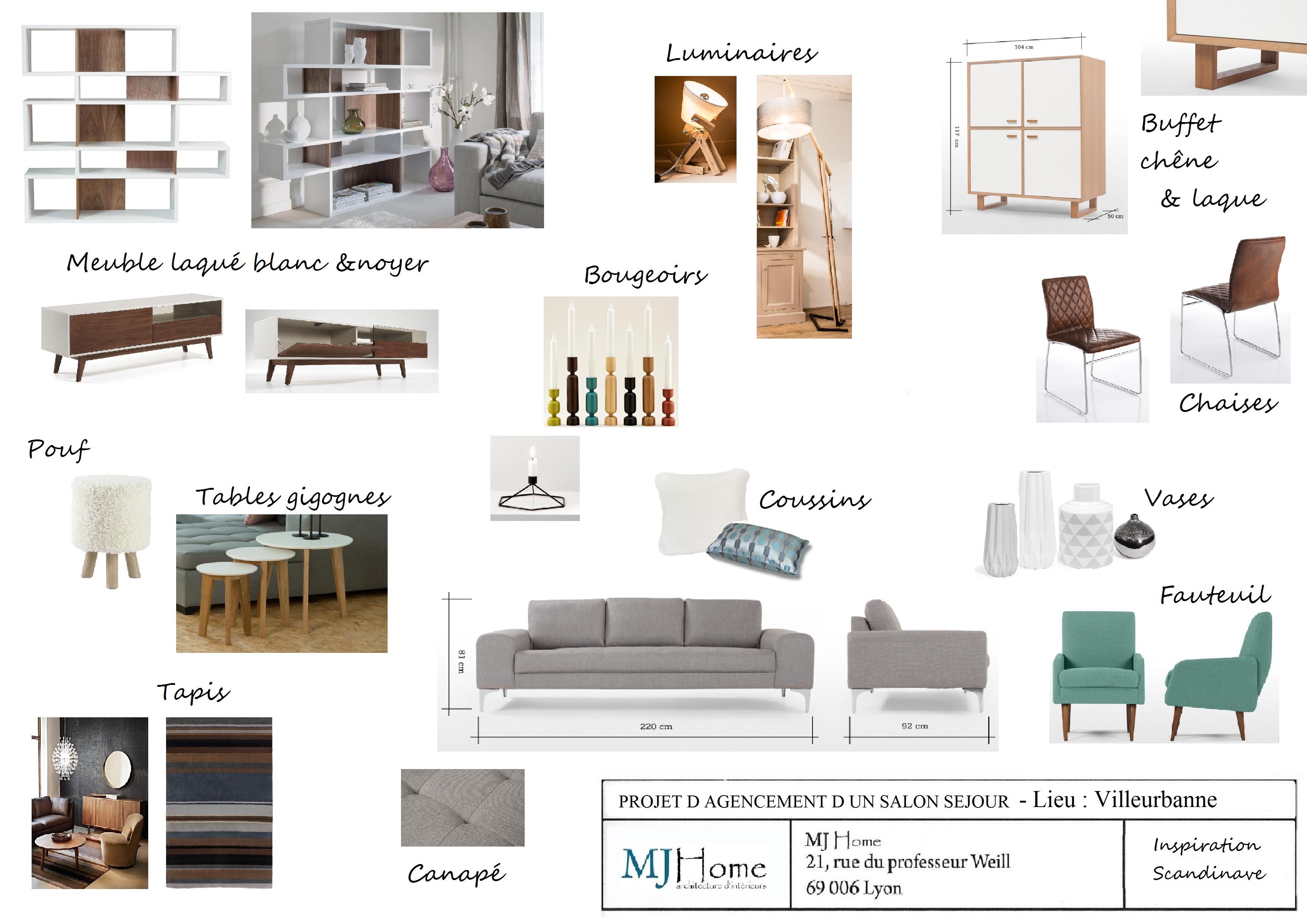 decoration d un salon sejour dans un esprit scandinave. Black Bedroom Furniture Sets. Home Design Ideas